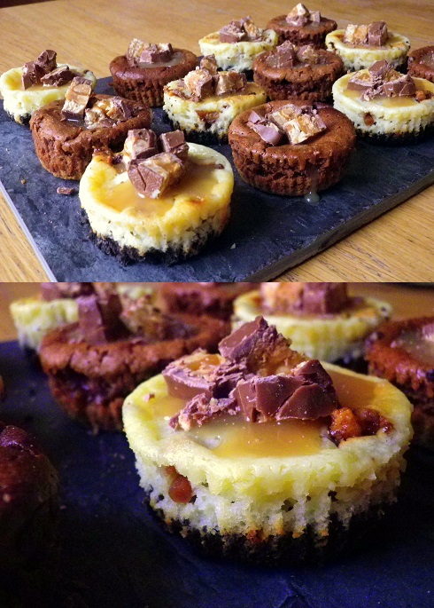 mini baked snickers cheesecakes (2)
